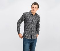 Men's Graphic Print Woven Shirt, Charcoal Grey Print Combo
