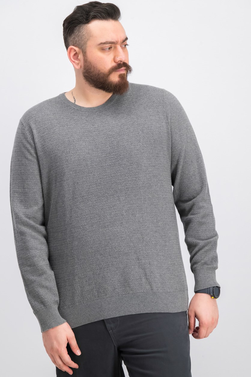 Chevron Crew Sweater, Heather Gray