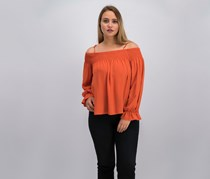 Ultra Flirt Women Juniors Smocked Off-The-Shoulder Blouse, Rust/Dark Orange