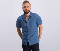 Theory Incisive Knit Short Sleeve Button-Down Shirt, Blue