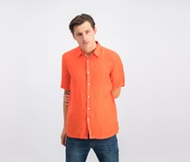Theory Irving Summer Linen Short Sleeve Button-Down Shirt, Venom