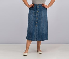 Style & Co. Button-Front Denim Skirt, Camino