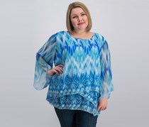 Jm Collection Plus Size Printed Tiered Top, Eye Blaze