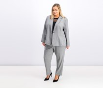 Tahari Women Plus Size Plaid Pant Suit, Black/White