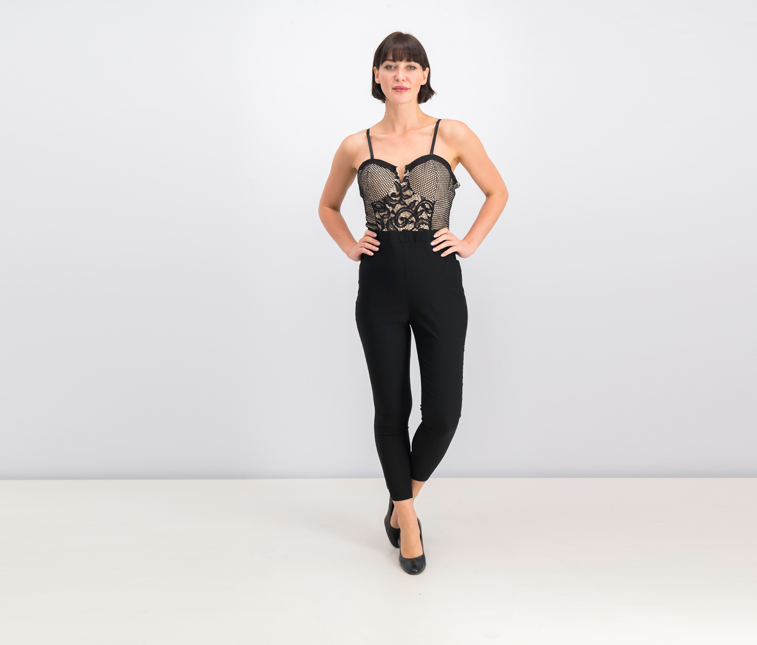 Lace-Bodice Jumpsuit, Caviar Black