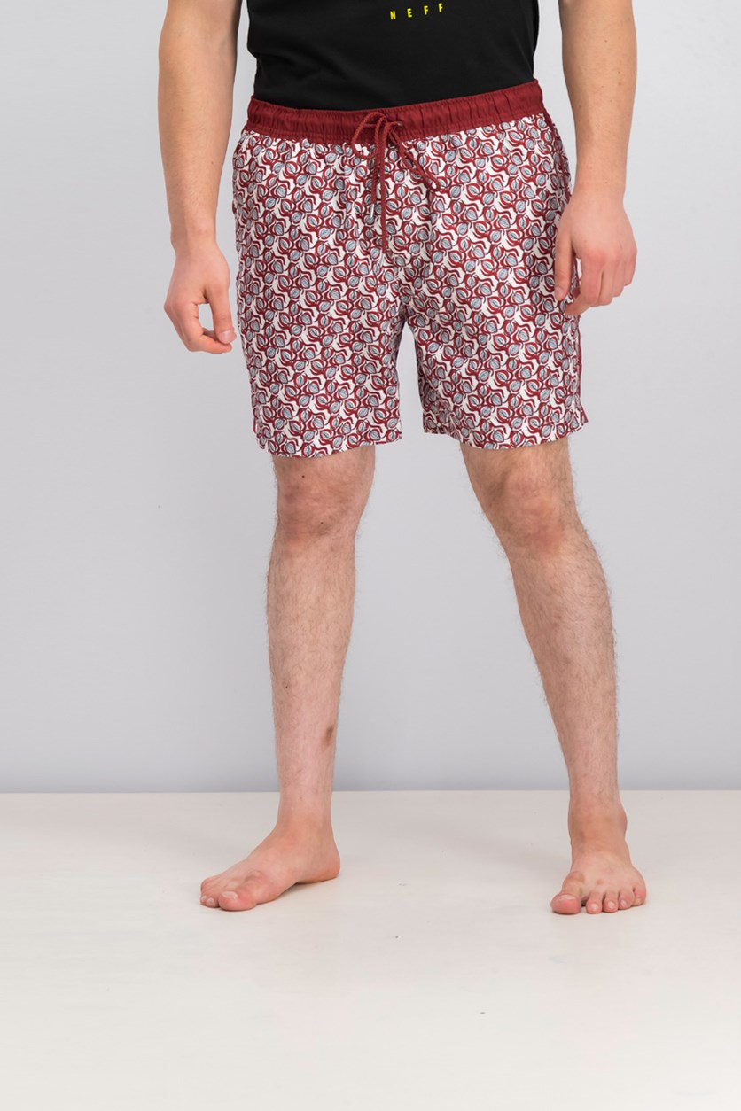 International Concepts Men's Leafy Printed Swim Trunks,  Chinese Apple