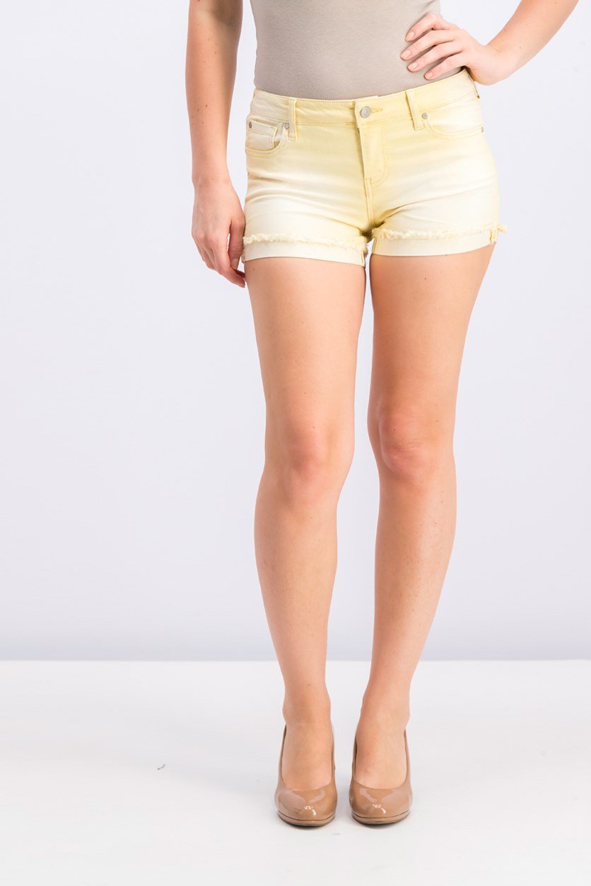 Women Juniors Colored Denim Shorts, Lemon