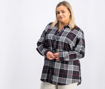 Foxcroft Women's Plus Size Wrinkle Free  Shirt, Black Combo