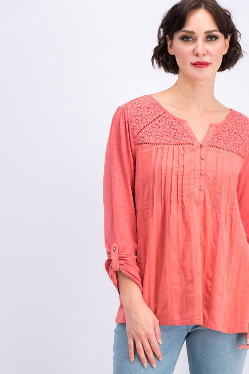 Ladies Roll Tab Blouse, Rose Balm