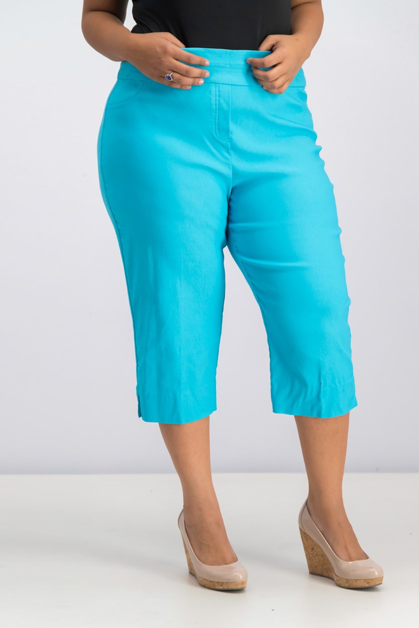 Turks & Caicos Allure Pull-On Capri Pants, Turquoise