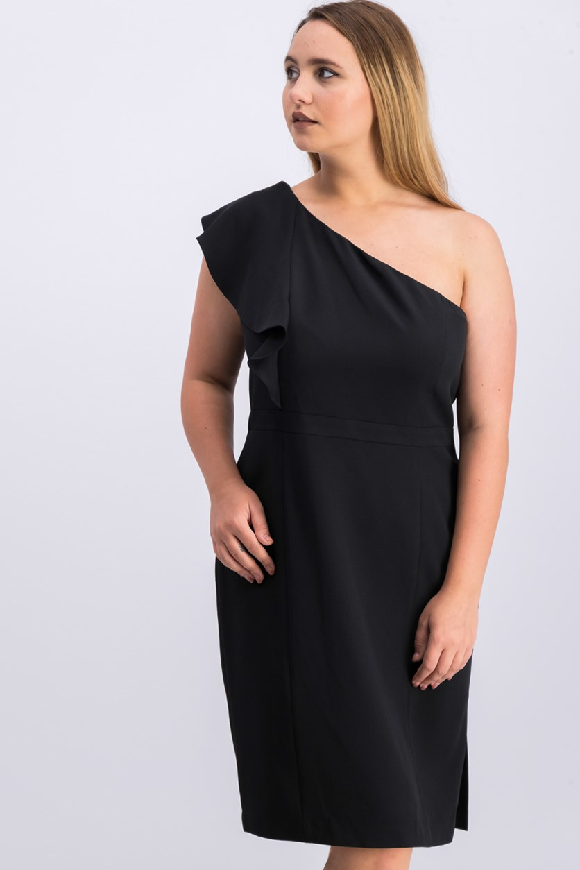 Women One Sleeve Shift Dress, Black