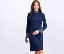 Karl Lagerfeld Scuba Crepe Long Sleeve Dress, Navy