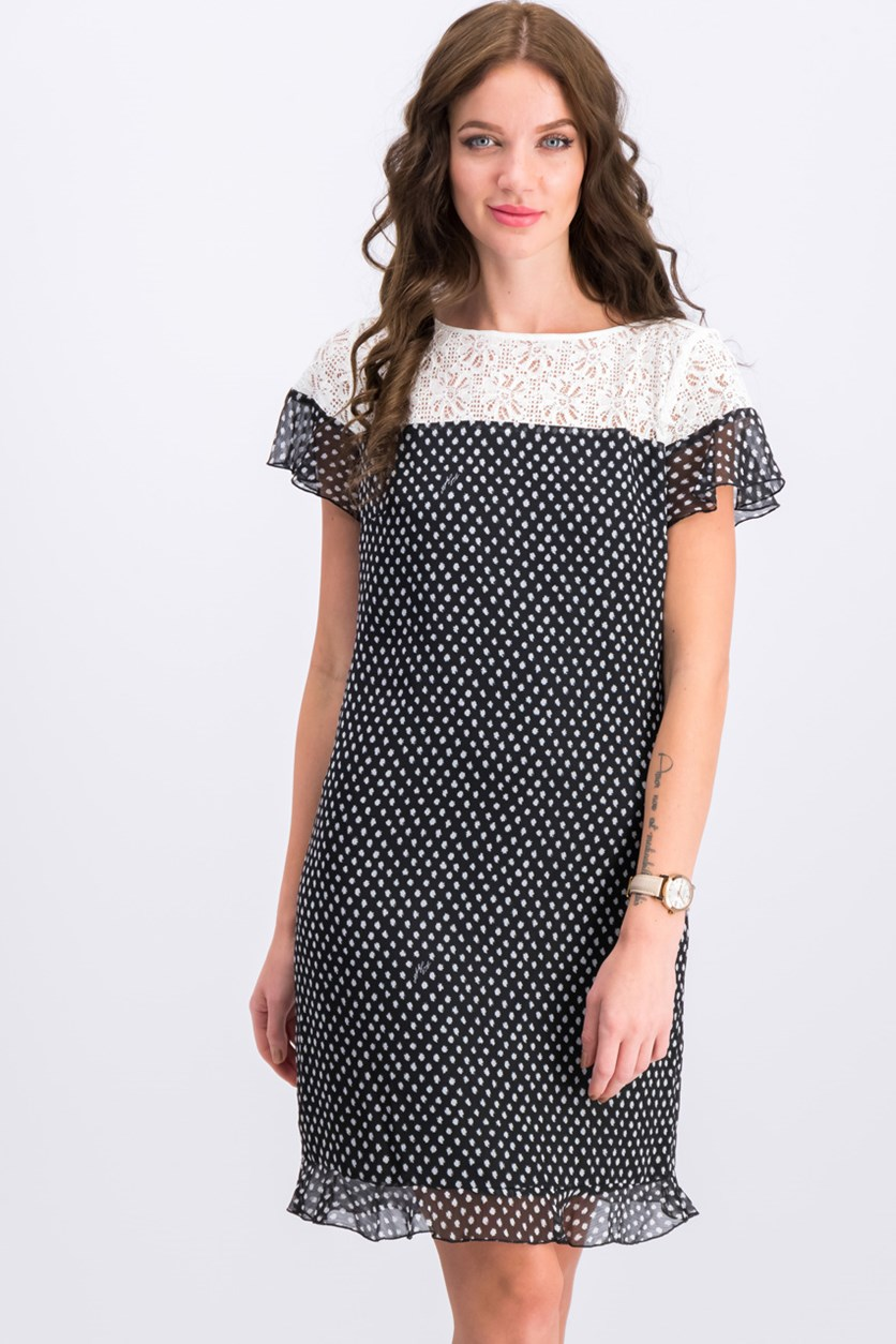 Women's Lace Printed Dress, Black/White