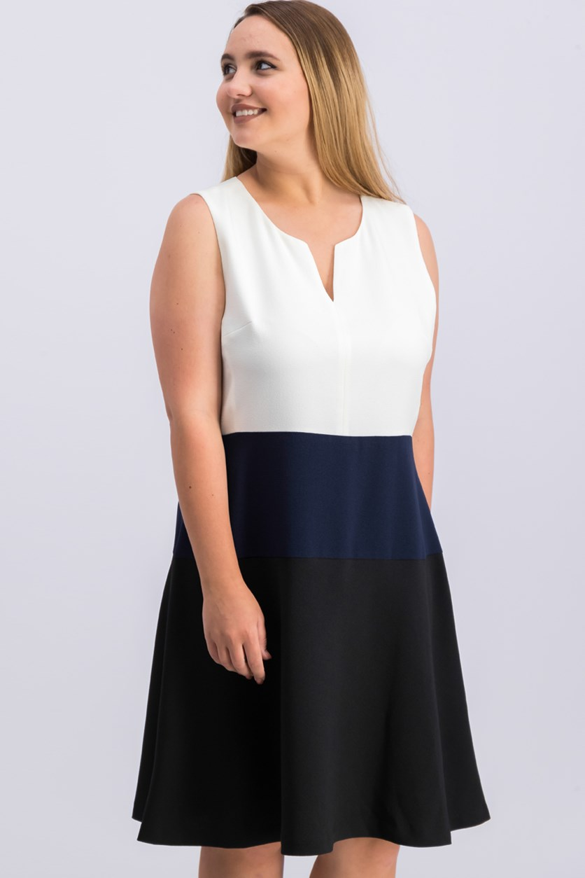 Women Sleeveless Fit Flared Dress, Black/Navy/White