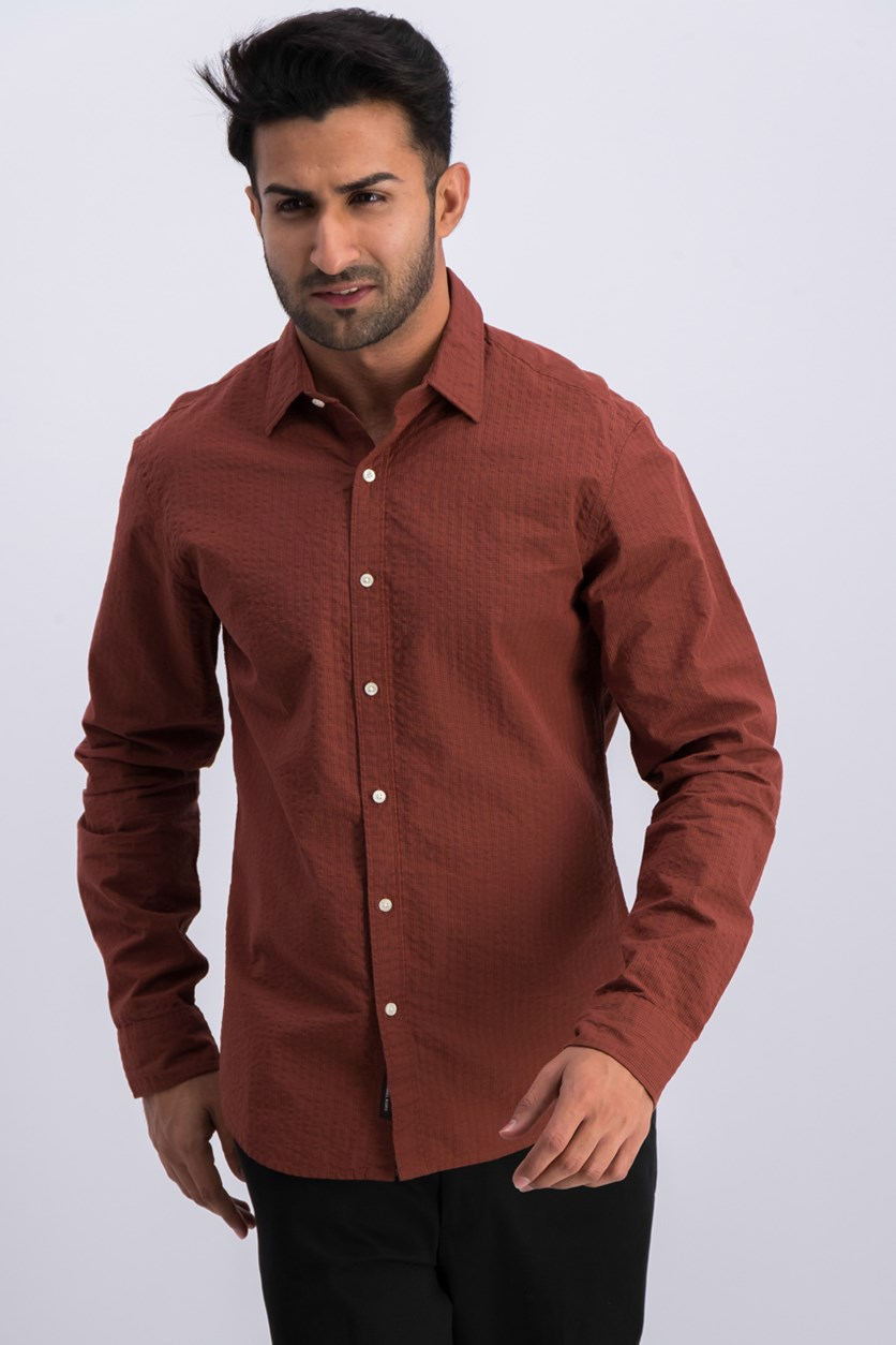 Mens Slim-Fit Seersucker Shirt, Sienna