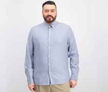 Men's Slim-Fit Geometric Oxford Shirt, Ocean/Blue