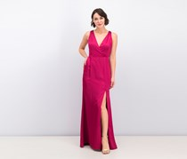 Adrianna Papell Long Stretch Satin Gown with Tie Back Sash, Red