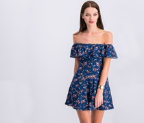 Be Bop Juniors' Off-The-Shoulder A-Line Dress, Navy/Red