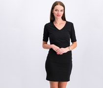 Bebe Women Illusion Logo Sleeve Waist Mesh Dress, Black