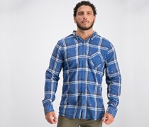 Mens Classic Fit Hooded Shirt, Blue Plaid Whale