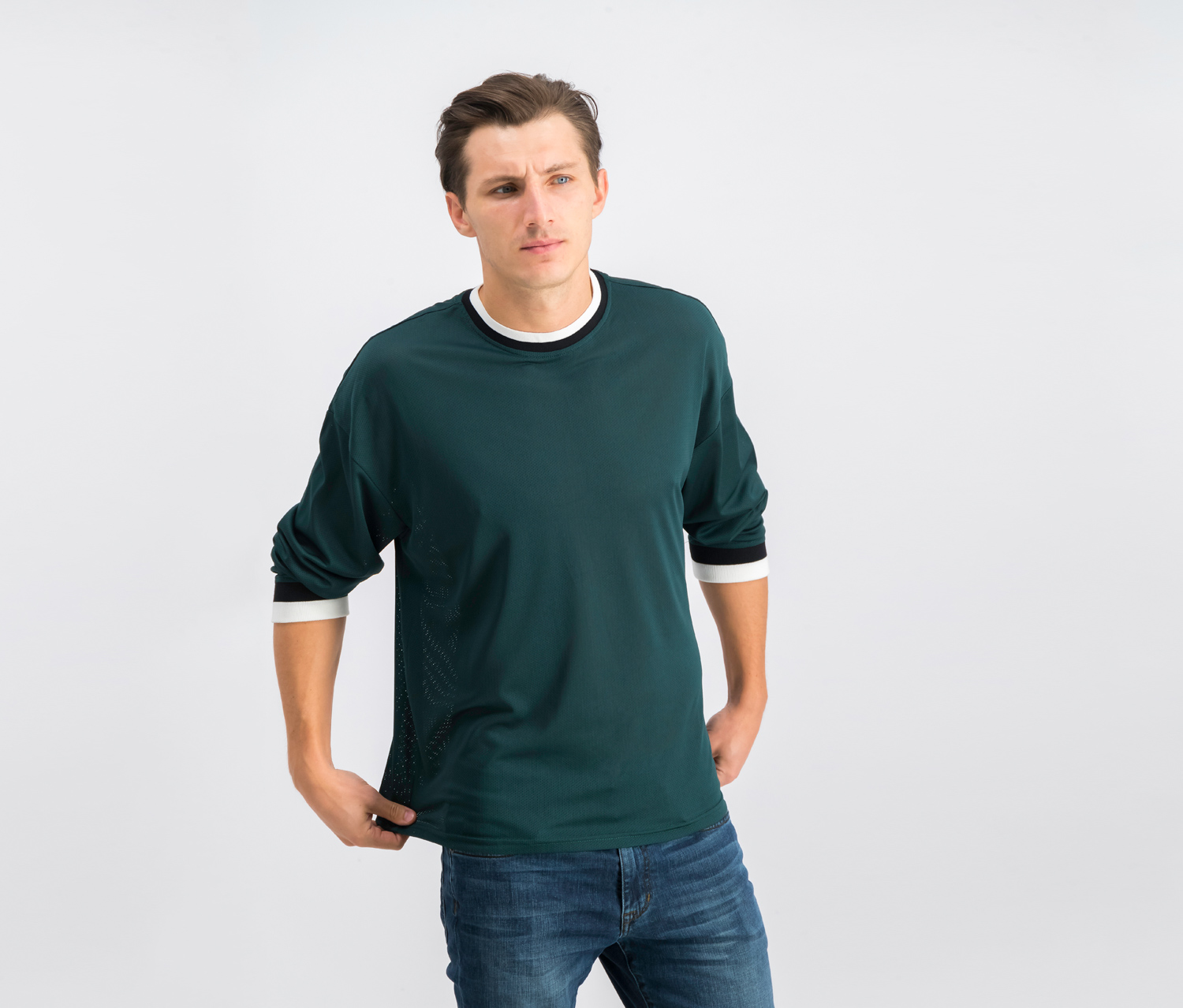 Mens Drop Mesh Pullover, Green
