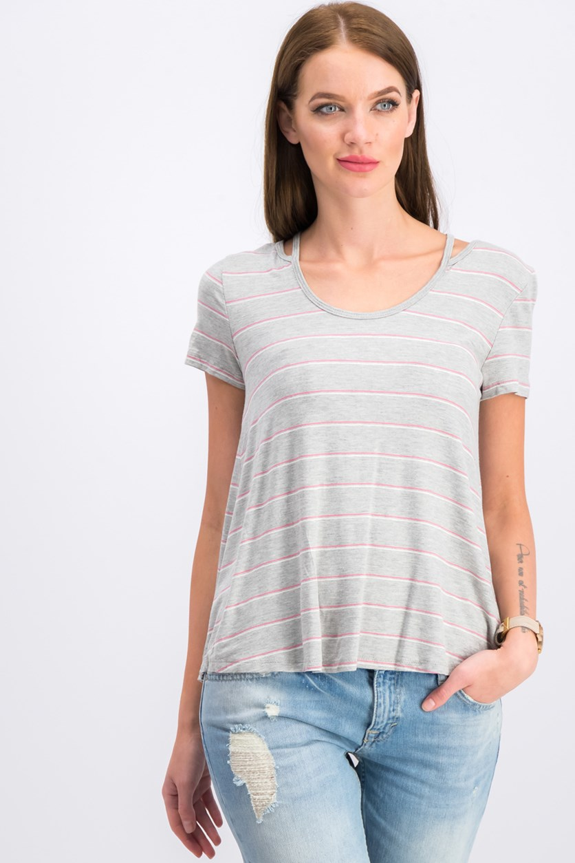 Women's Stripe Tops, Gray/Pink Combo