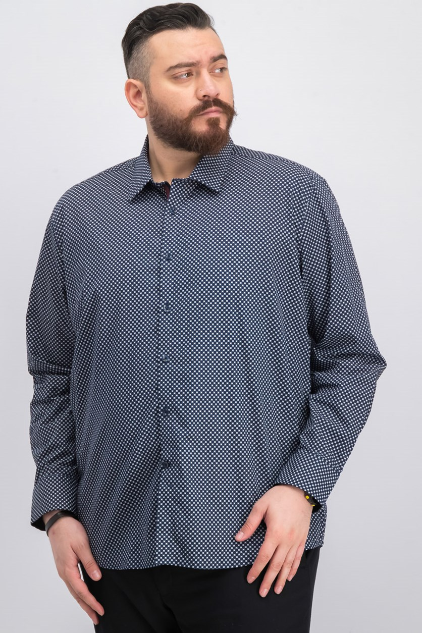 Men's Woven Geometric Shirt, Navy