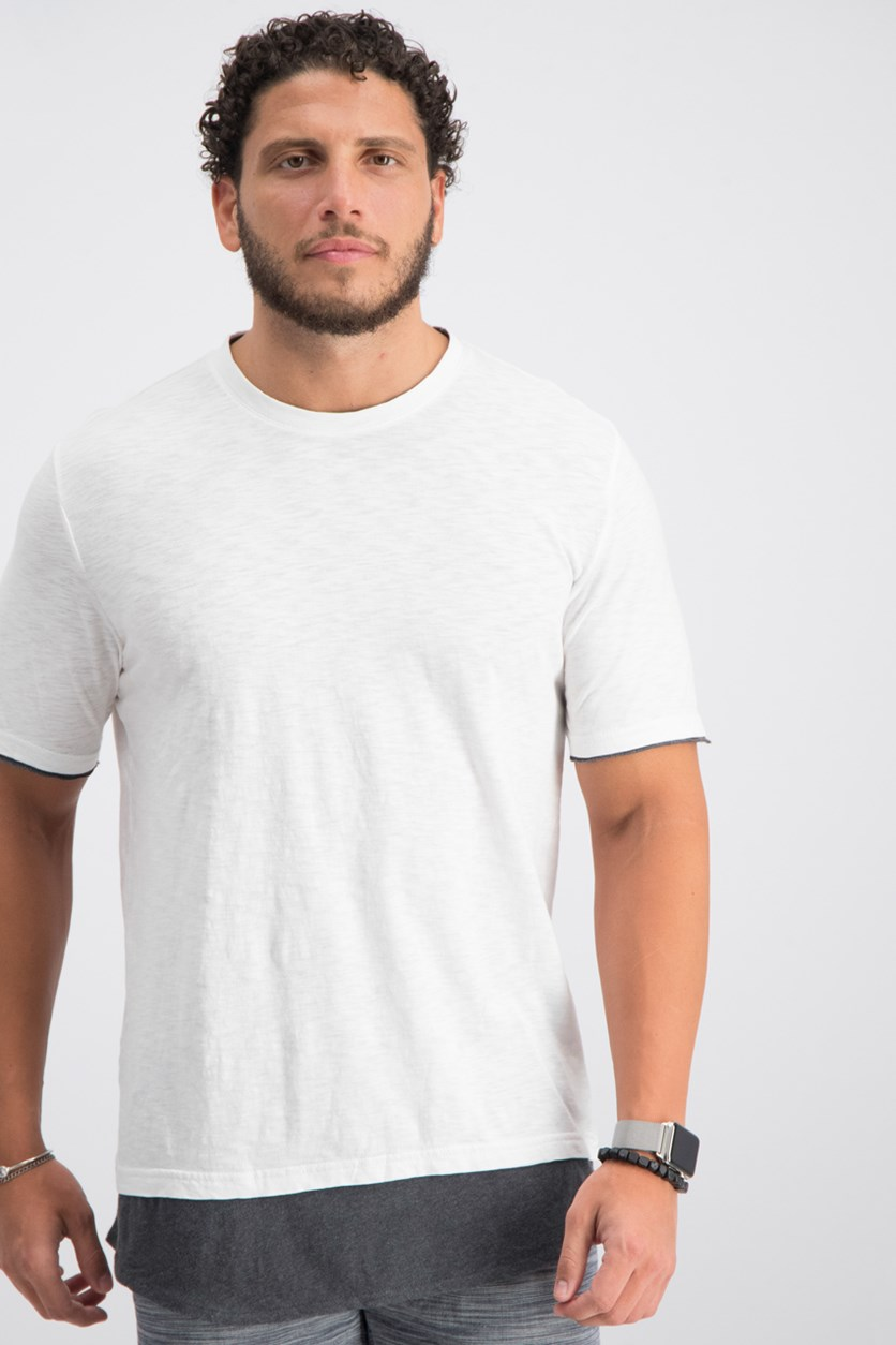 I-N-C Mens Colorblocked Basic T-Shirt, White