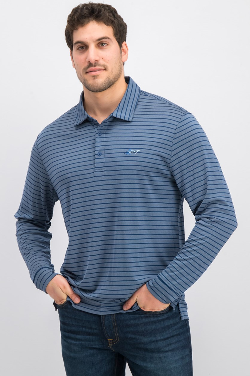 Men's Stripe Performance Polo Shirt, Blue Socket