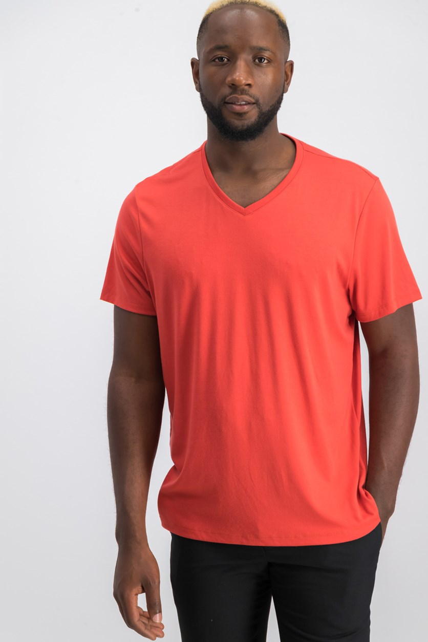 Men's Casual V Neck T-Shirt, Baked Aple