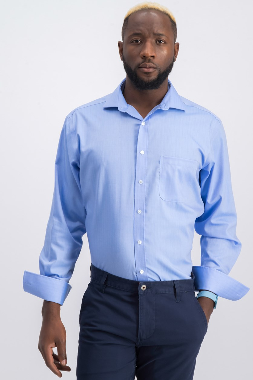 Mens Textured Shirt, Light Blue