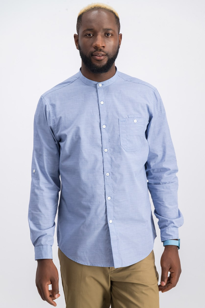 Men's Band-Collar Utility Shirt, Light Blue