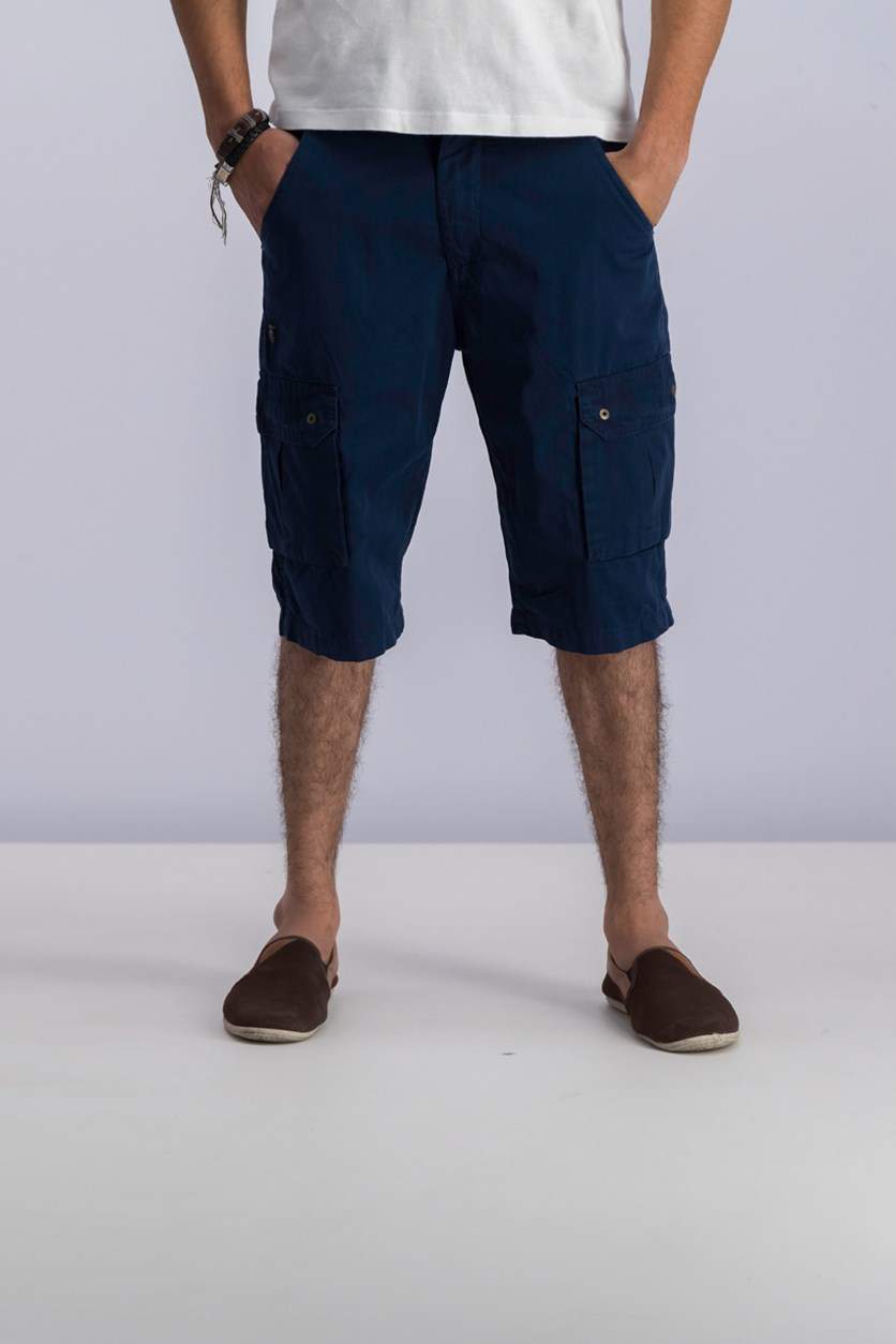Mens Colorblocked Cargo Short, Whale Navy