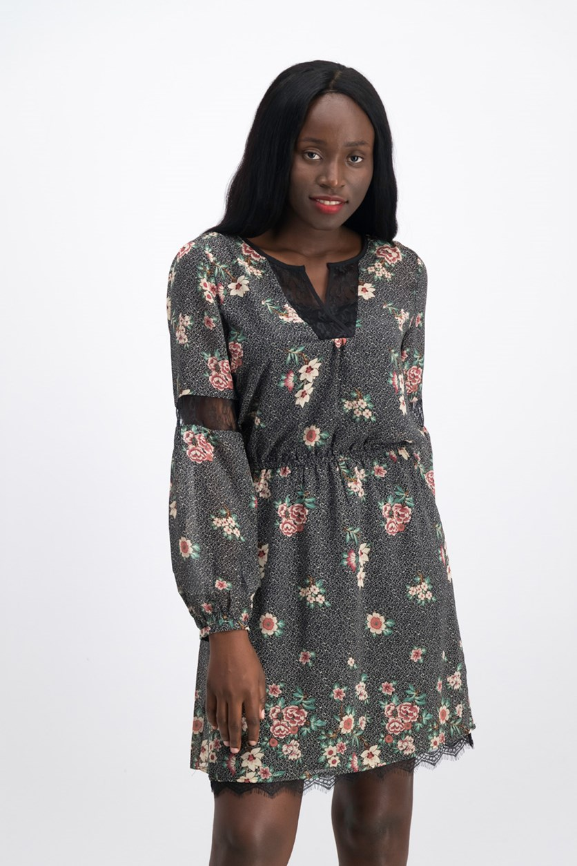 Women's Floral Dress, Black Combo