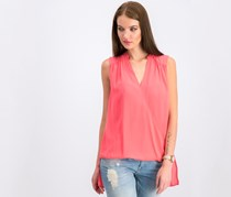 INC High-Low Surplice-Neck Top, Polished Coral