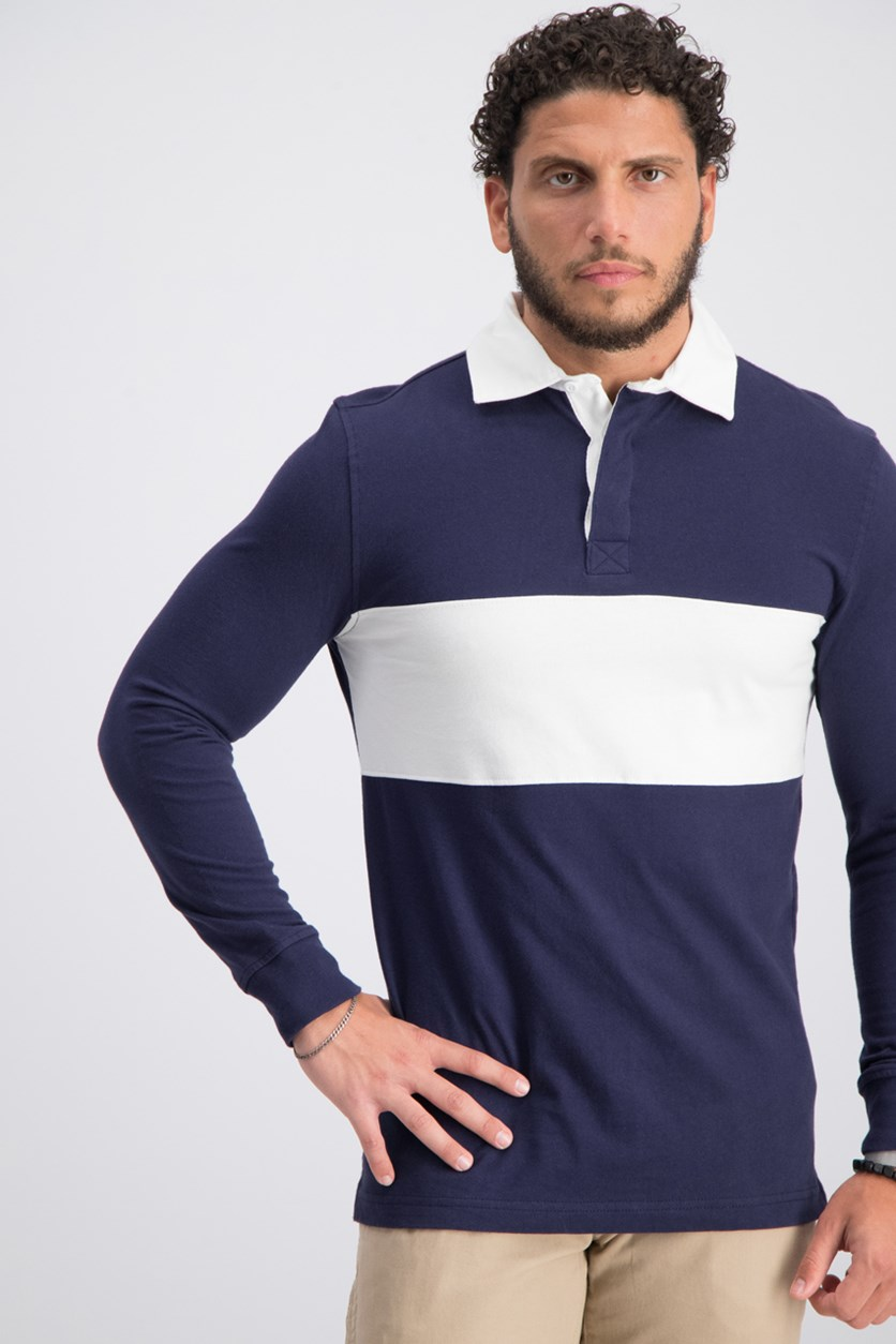 Mens Colorblocked Rugby Shirt, Blue