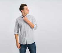 Alfani Slim-Fit Arem Check Shirt, Bright White/Grey