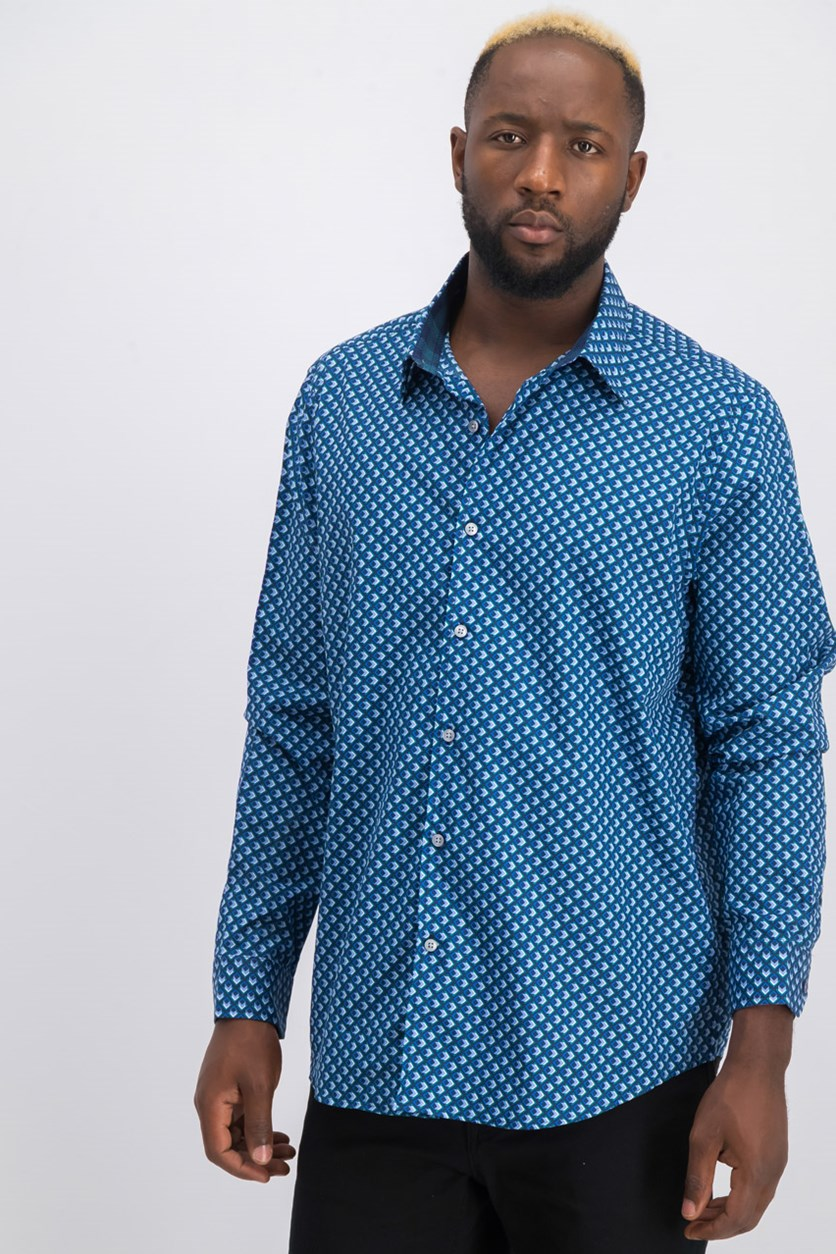 Men's Geo-Print Shirt, Navy Blue