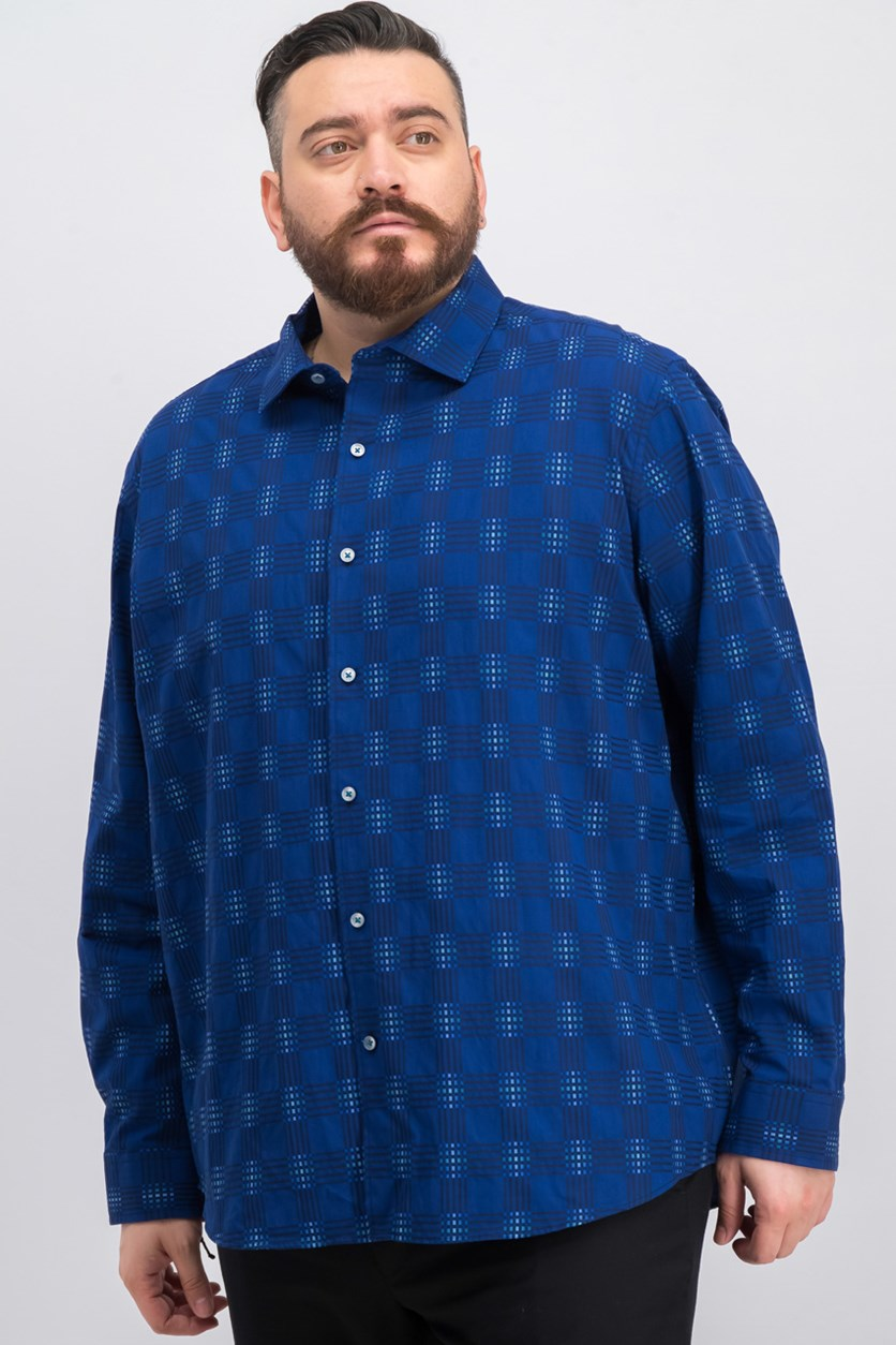 Men's Printed Long Sleeve Shirt, Navy