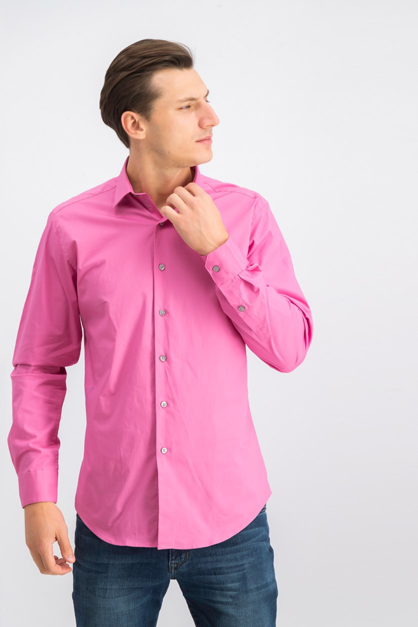 Men's Slim-Fit Stretch Solid Dress Shirt, Pink