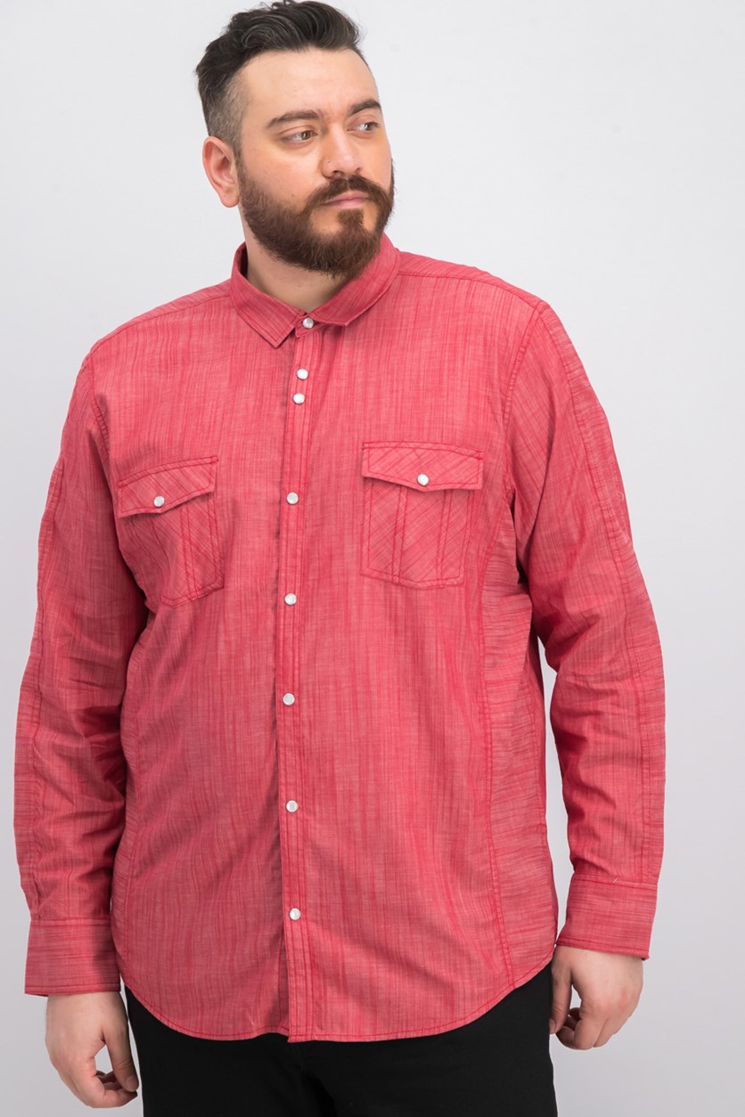 International Concepts Men's Textured Chambray Shirt, Banner Red