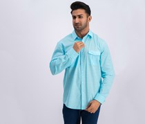 Mens Long-sleeve Warren Shirt, Sea Coast
