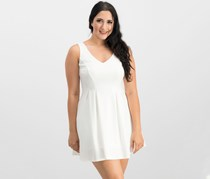 Teeze Me Sleeveless V-Neck Fit & Flare Dress, White