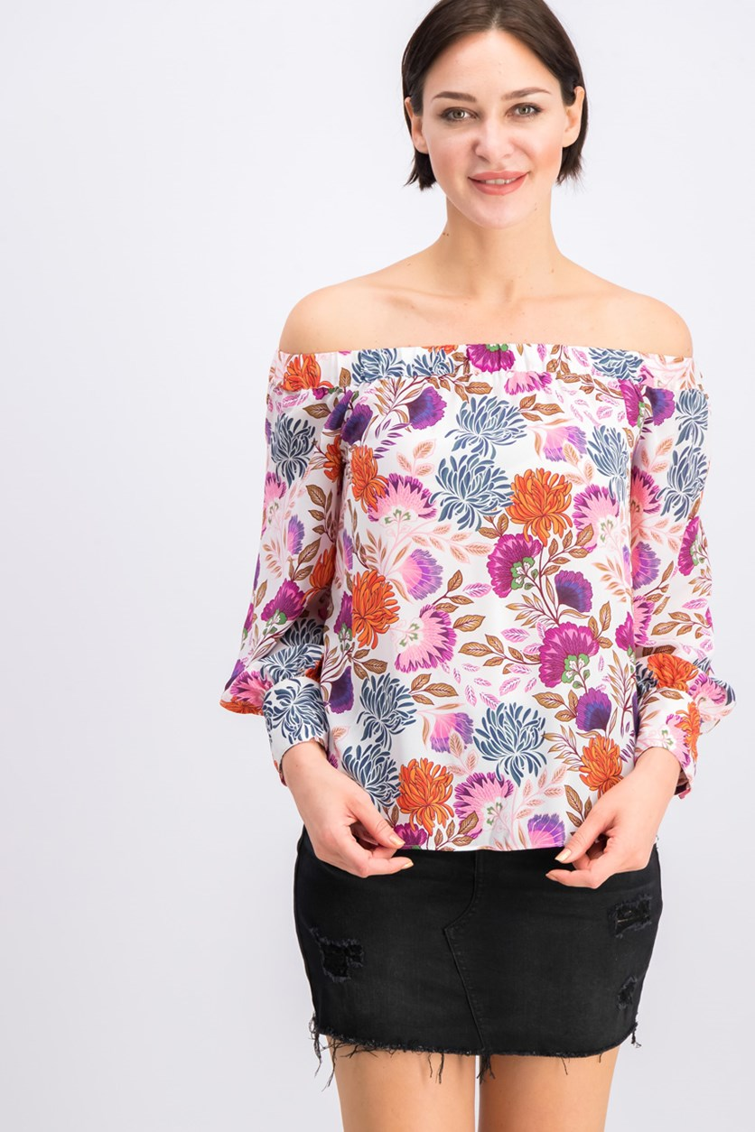 I.n.c. Petite Printed Off-the-Shoulder Top, Ivory Combo