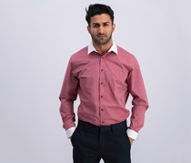 International Concepts Mens Striped Banker Shirt, Pale Maroon Red Combo