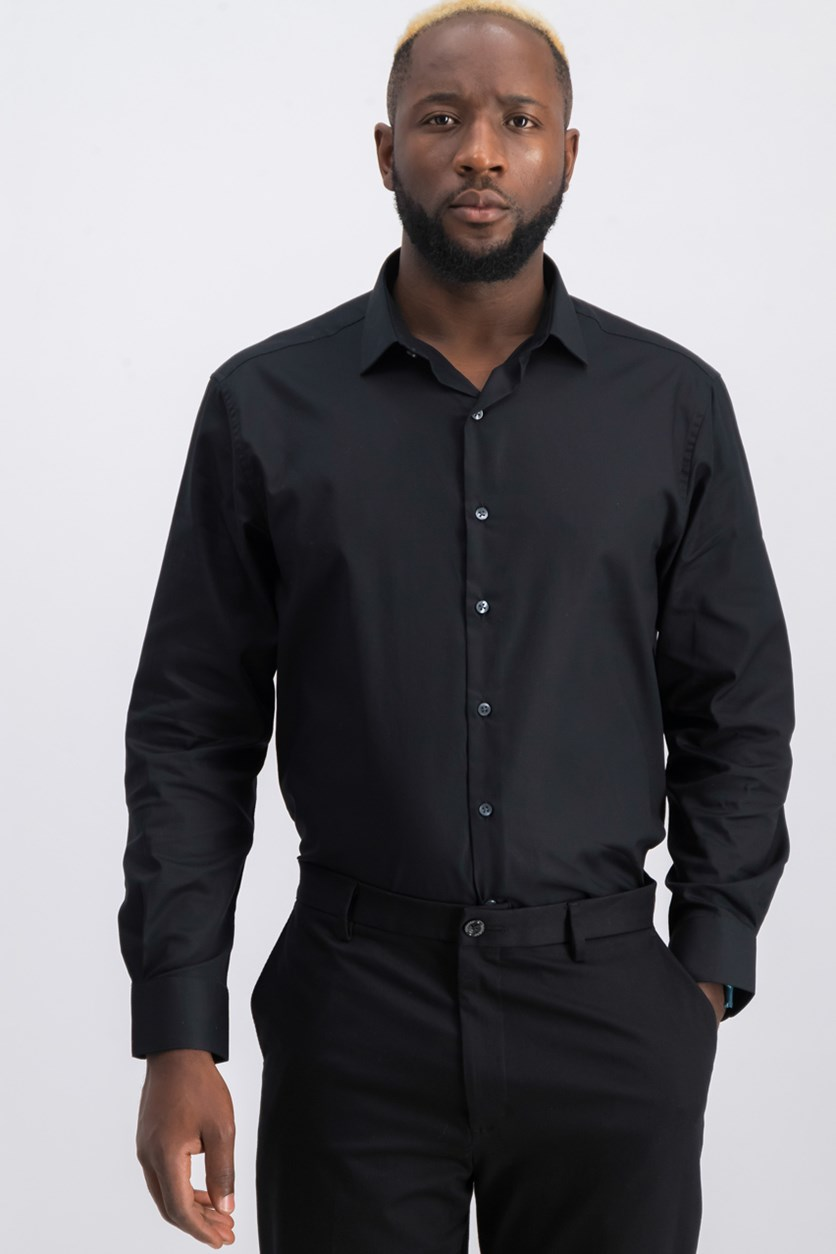 Men's Slim-Fit Stretch Dress Shirt, Black