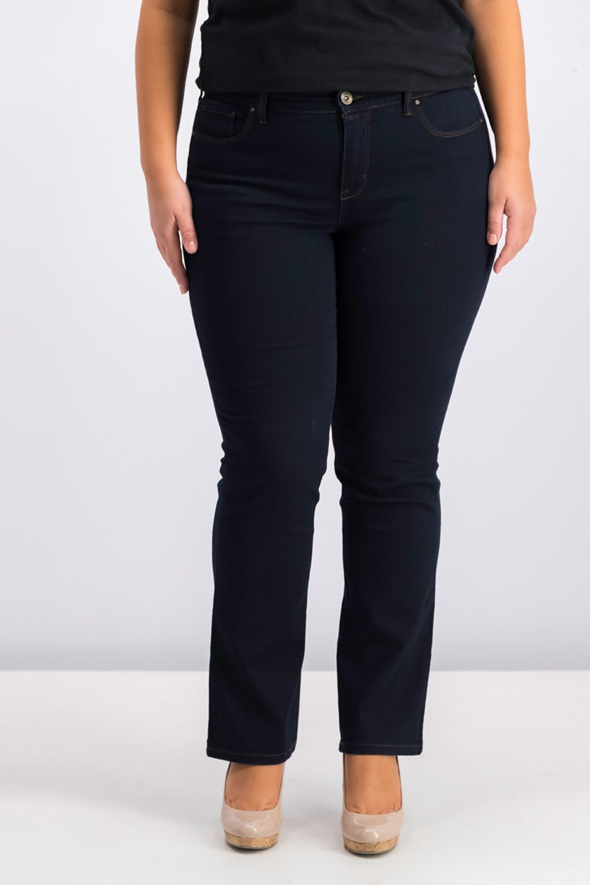 Womens Bootcut Tummy-Control Jeans, Rinse