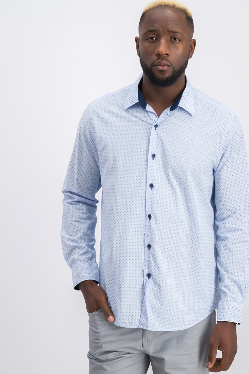 Mens Printed Casual Shirt, Light Blue