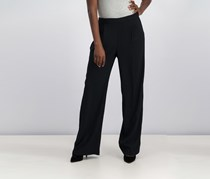 Women Wide-Leg Suit Pants, Deep Black