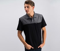 Inc International Concepts Men's Colorblocked Cotton Polo, Black/Gray